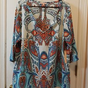 Gibson Latimer 3/4 Sleeve print tunic